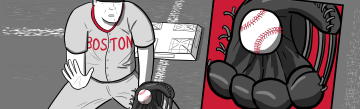 Boston Red Sox player catching a baseball cartoon