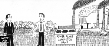 Cartoon of lamington drive at a coal power plant
