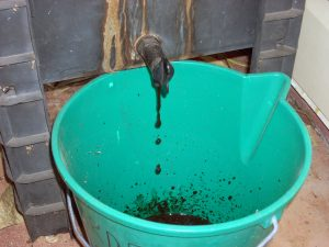 Stuart's worm farm - draining the worm tea into a bucket