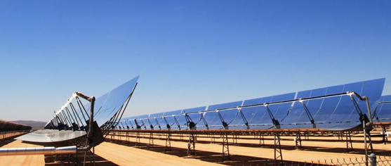 Solar thermal trough technology in desert