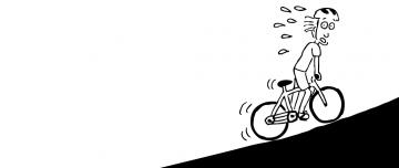 Cartoon man struggling to ride bike uphill