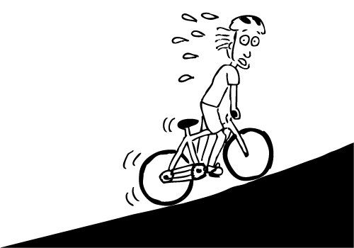 Stuart bike uphill cartoon