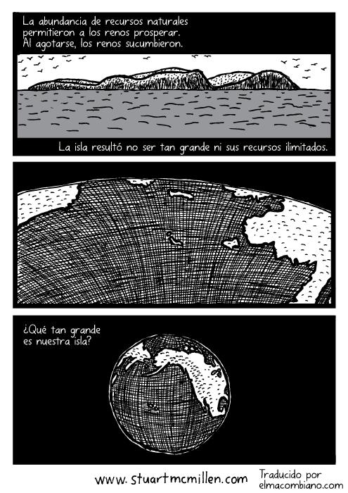 Vista de la isla desde el océano. Panorámica del Planeta Tierra. La abundancia de recursos naturales permitieron a los renos prosperar. Al agotarse, los renos sucumbieron. La isla resultó no ser tan grande ni sus recursos ilimitados. Vista de la isla desde el océano. Panorámica del Planeta Tierra.