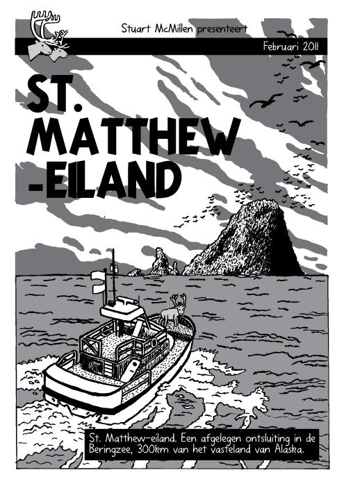 Oceaan eiland boot cartoon. Strip. Kuifje 'De Zwarte Rotsen' omslag. Rendier. St. Matthew-Eiland. St. Matthew-Eiland. Een afgelegen ontsluiting in de Beringzee, 300km van het vasteland van Alaska.