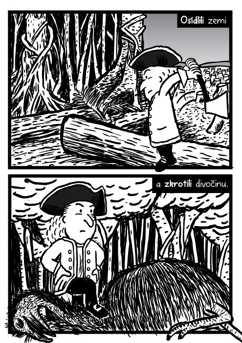 Muž sekyra štípat dříví komiks. Poražené stromy kresba. Les mrtvý emu. Osídlili zemi a zkrotili divočinu.