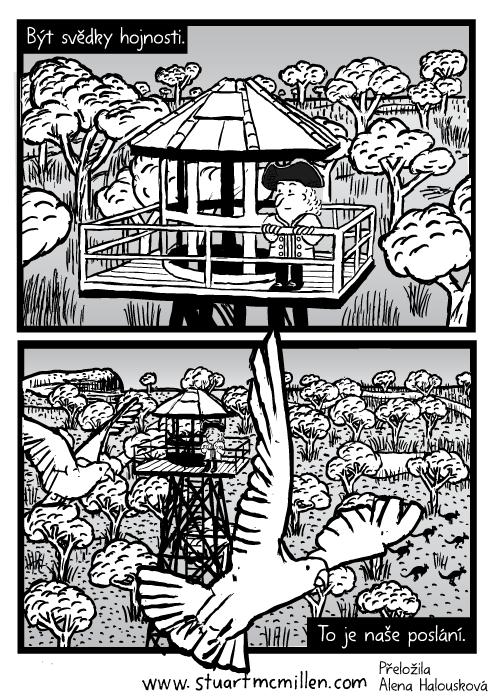 Vnitrozemí rozhledna kresba. Létající ptáci kakadu komiks. Austálie objevitel stromy. Být svědky hojnosti. To je naše poslání.