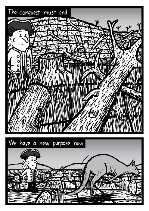 Logged forest, fallen trees drawing. Cartoon explorer hopping wallaby. The conquest must end. We have a new purpose now.