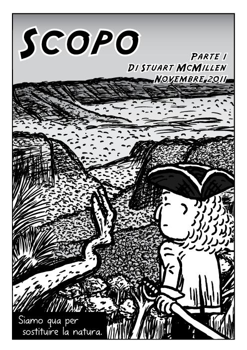 Vignetta dell'esploratore con cappello tricorno. Disegno con vallata di alberi. Siamo qua per sostituire la natura.