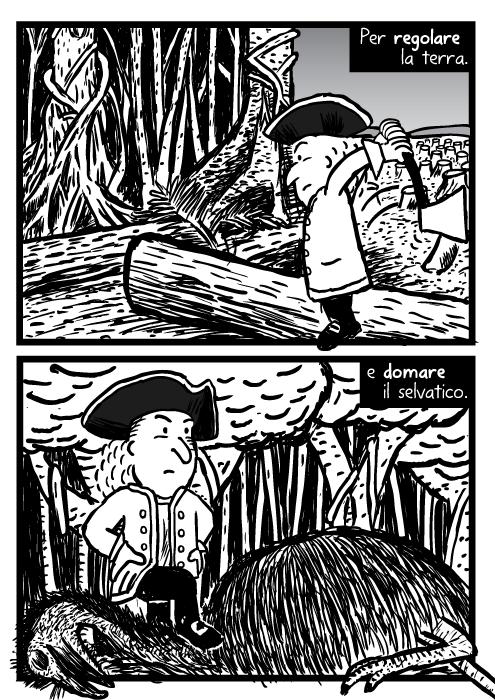 Vignetta di uomo che taglia legna. Pile di alberi caduti. Emu della foresta morto. Per regolare la terra. e domare il selvatico.