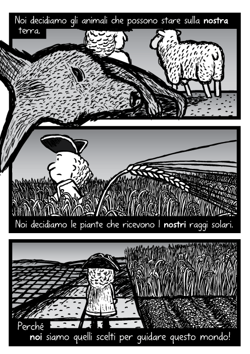 Fumetto con canguro morto e un allevatore di pecore. Disegno di un uomo che cammina attraverso campo di grano. File di canna da zucchero, campi in squadra. Noi decidiamo gli animali che possono stare sulla nostra terra. Noi decidiamo le piante che ricevono I nostri raggi solari. Perché noi siamo quelli scelti per guidare questo mondo!