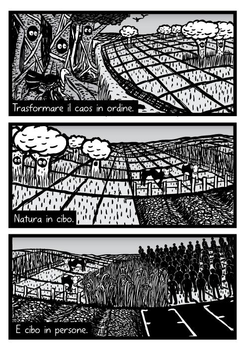 Vignetta di natura trasformata in coltivazione. Disegno di deforestazione. Trasformare il caos in ordine. Natura in cibo. E cibo in persone.