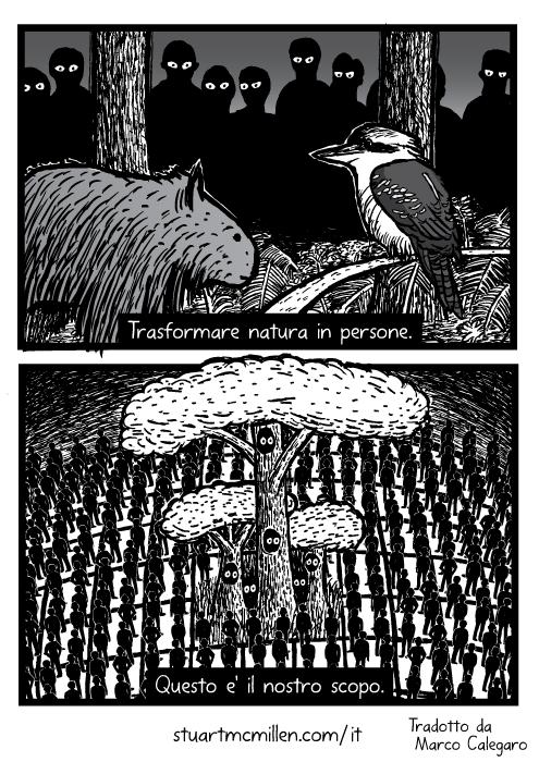 Disegno di wombat kookaburra. Vignetta sull'estinzione dell'ambiente. Trasformare natura in persone. Questo e' il nostro scopo.