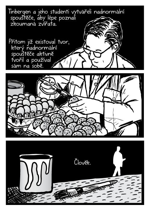 Niko Tinbergen vědec brýle malování vajec pracovní stůl. Tinbergen a jeho studenti vytvářeli nadnormální spouštěče, aby lépe poznali zkoumaná zvířata. Přitom již existoval tvor, který nadnormální spouštěče aktivně tvořil a používal sám na sobě. Člověk.