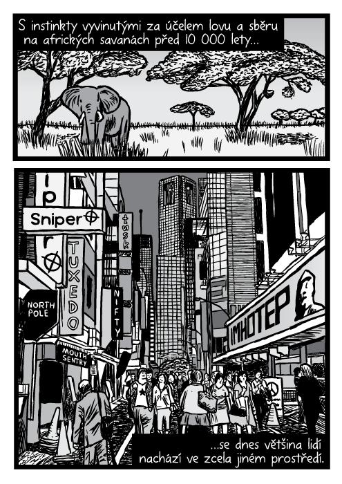 Afrika savana slon akácie. Spěch velkoměsto mrakodrapy dav lidí ukazatele komiks kresba. S instinkty vyvinutými za účelemlovu a sběru na afrických savanách před 10 000 lety…se dnes většina lidí nachází ve zcela jiném prostředí.