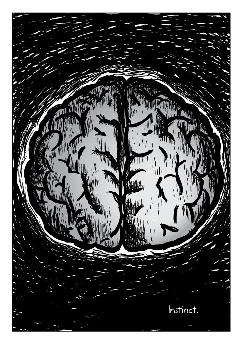 Instinct. Brain cartoon drawing.