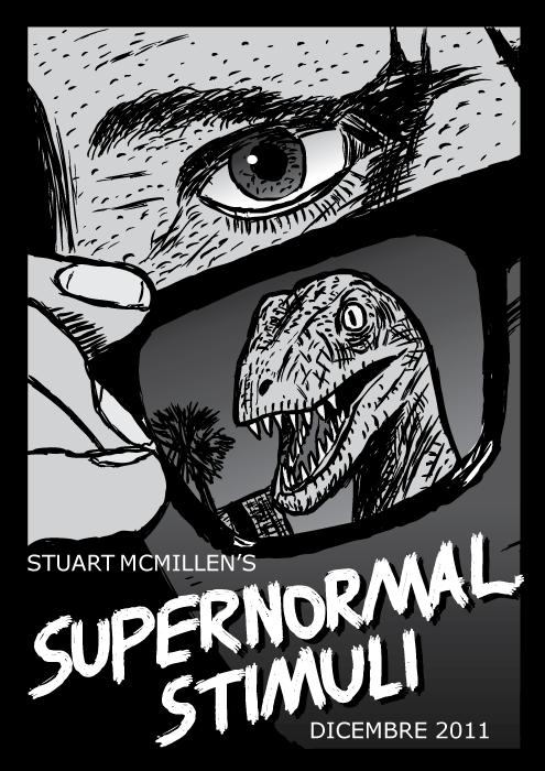 Copertina del fumetto Supernormal Stimuli. Vignetta Loro Vivono poster del film. Occhiali da sole dinosauro raptor velociraptor.