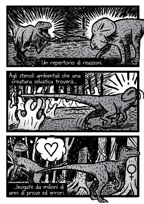 Vignetta velociraptors raptors dinosauri. Un repertorio di reazioni. Agli stimoli ambientali che una creatura selvatica troverà levigate da milioni di anni di prove ed errori.