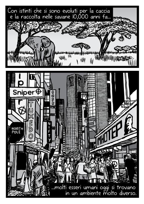 Prateria africana elefante alberi di acacia. Grattacieli di una città impegnata folla cartelli fumetto vignetta. Con istinti che si sono evoluti per la caccia e la raccolta nelle savane 10,000 anni fa molti esseri umani oggi si trovano in un ambiente molto diverso.