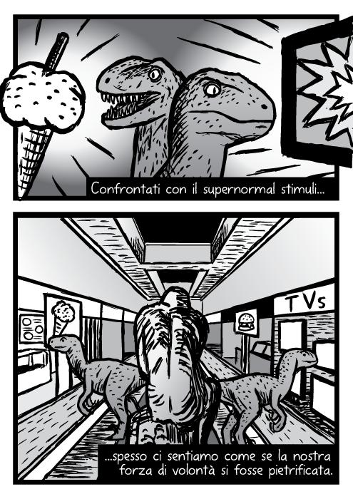 Disegno di dinosauri raptor velociraptors. Vignetta del centro commerciale. Confrontati con il supernormal stimuli. Spesso ci sentiamo come se la nostra forza di volontà si fosse pietrificata.