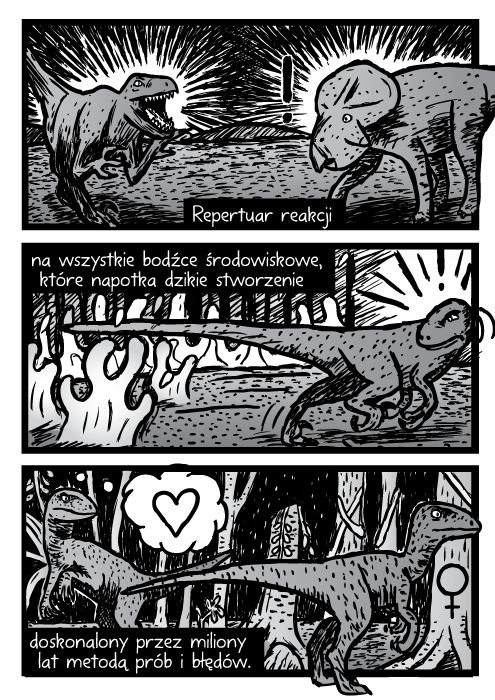 Repertuar reakcji na wszystkie bodźce środowiskowe, które napotka dzikie stworzenie doskonalony przez miliony lat metodą prób i błędów.