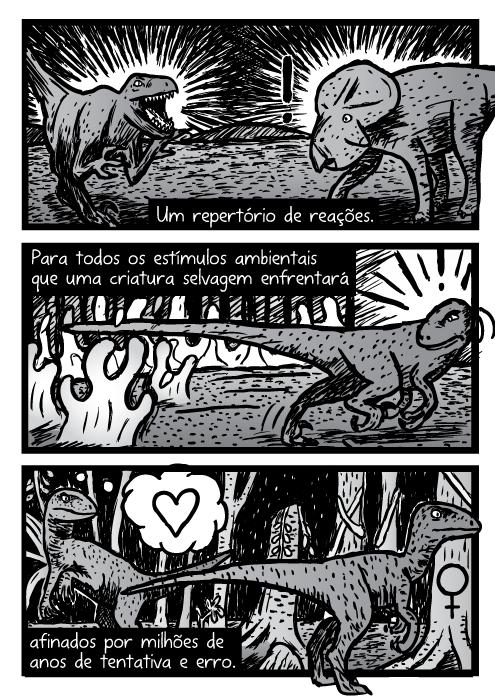 Velociraptor quadrinhos. Dinossauro cartoon. Um repertório de reações. Para todos os estímulos ambientais que uma criatura selvagem enfrentará afinados por milhões de anos de tentativa e erro.