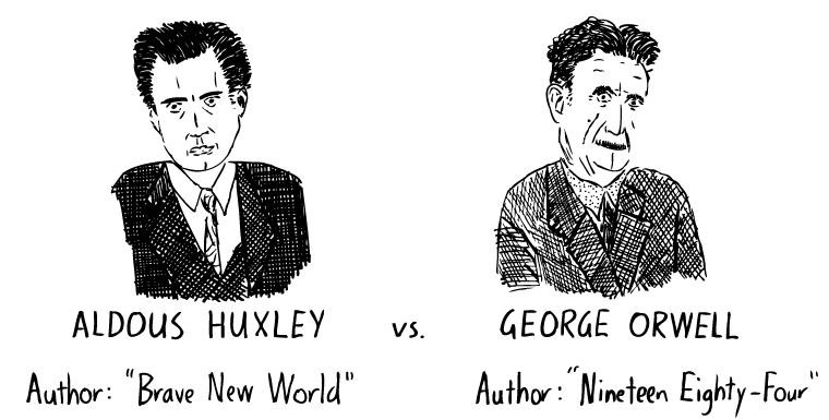 George Orwell cartoon. Aldous Huxley drawing. Amusing Ourselves to Death comic. Neil Postman. Nineteen Eighty-Four. Brave New World.