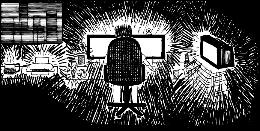 Electronic distractions cartoon. Drawing of man in front of glowing computer screen. Dark room.