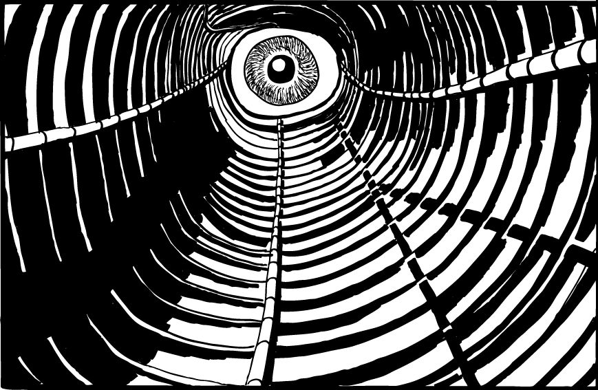 Drawing of eye looking down tunnel of pipes. Cartoon of Germano Facetti's George Orwell Nineteen Eighty-Four paperback book cover.