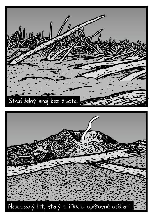 Mount St. Helens komiks. Spadlé kmeny stromů popel sopky kresba. Polomová oblast. Strašidelný kraj bez života. Nepopsaný list, který si říká o opětovné osídlení.