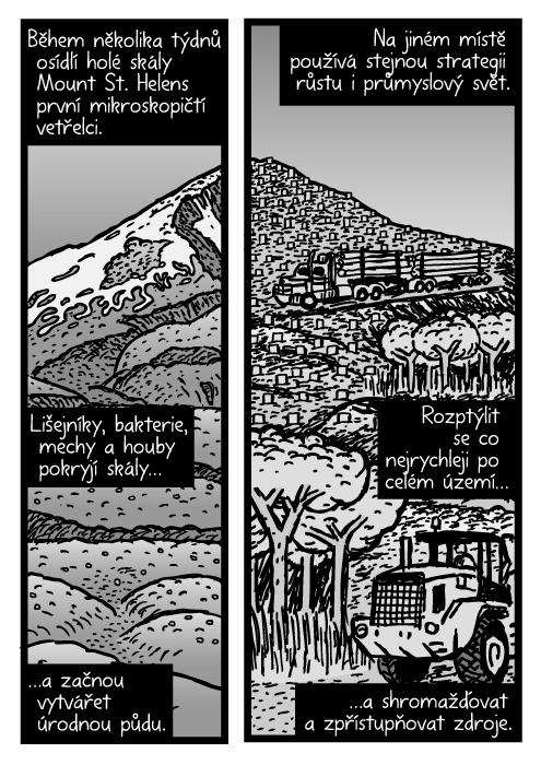 Mount St. Helens komiks. Kamion kresba. Během několika týdnů osídlí holé skály Mount St. Helens první mikroskopičtí vetřelci. Lišejníky, bakterie, mechy a houby pokryjí skály…a začnou vytvářet úrodnou půdu. Na jiném místě používá stejnou strategii růstu i průmyslový svět. Rozptýlit se co nejrychleji po celém území…a shromažďovat a zpřístupňovat zdroje.