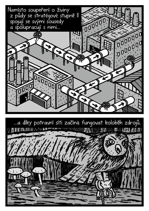 Izometrický průmyslové tovární komíny recyklace kresba. Sova lovící myš komiks. Namísto soupeření o živiny z půdy se stratégové stupně II spojují a spolupracují se svými sousedy…a díky potravní síti začíná fungovat koloběh zdrojů.