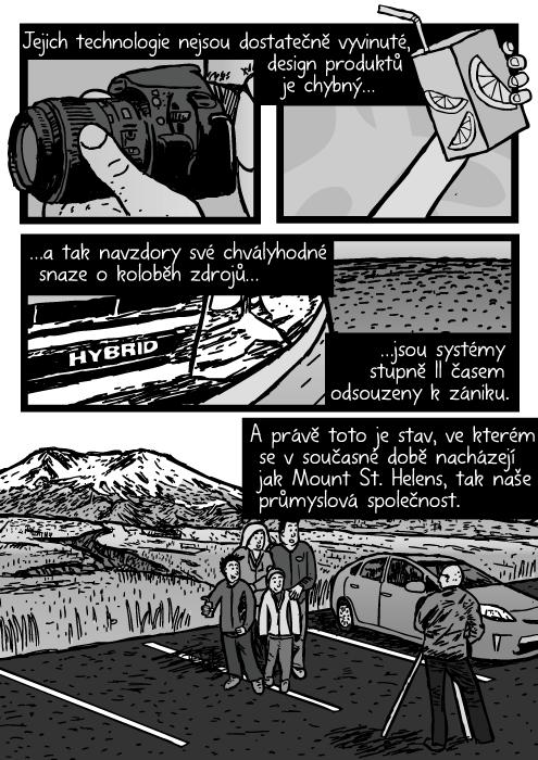 Rodina fotografie pózovat Mount St. Helens kresba. Detailní záběr hybridní automobil komiks. Fotoaparát, krabička džusu. Jejich technologie nejsou dostatečně vyvinuté, design produktů je chybný…a tak navzdory své chvályhodné snaze o koloběh zdrojů…jsou systémy stupně II časem odsouzeny k zániku. A právě toto je stav, ve kterém se vsoučasné době nacházejí jak Mount St. Helens, tak naše průmyslová společnost.