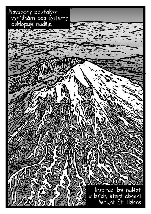 Mount St. Helens letecká kresba. Pohled zptačí perspektivy sopka komiks. Navzdory zoufalým vyhlídkám oba systémy obklopuje naděje. Inspiraci lze nalézt vlesích, které obhání Mount St. Helens.