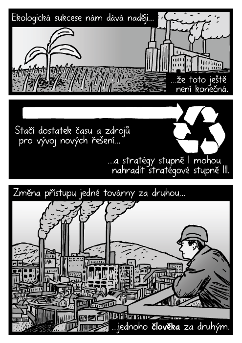 Muž pozorující továrnu kresba. Uhelná elektrárna komiks. Ekologická sukcese nám dává naději…že toto ještě není konečná. Stačí dostatek času a zdrojů pro vývoj nových řešení…a stratégy stupně I mohou nahradit stratégové stupně III. Změna přístupujedné továrny za druhou…jednoho člověka za druhým.