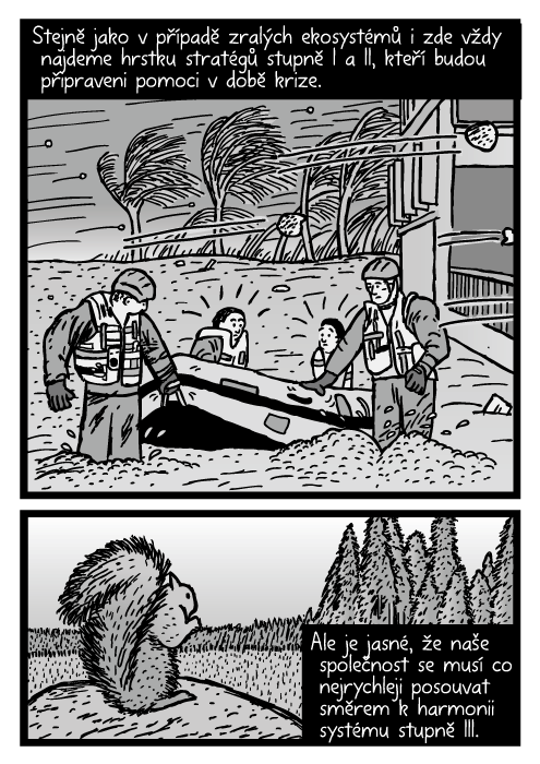 Bouře vichr záchranný člun komiks. Veverka kresba kácení lesa. Stejně jako vpřípadě zralých ekosystémů i zde vždy najdeme hrstku stratégů stupně I a II, kteří budou připraveni pomoci vdobě krize. Ale je jasné, že naše společnost se musí co nejrychleji posouvat směrem kharmonii systému stupně III.