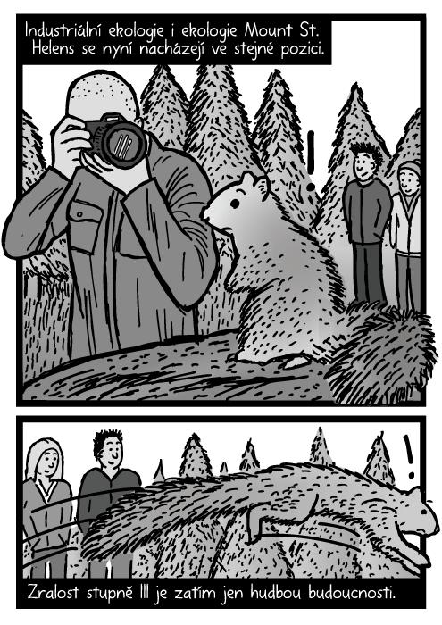 Muž fotografující veverku zrcadlovka komiks. Kresba utíkající veverka. Industriální ekologie i ekologie Mount St. Helens se nyní nacházejí ve stejné pozici. Zralost stupně III je zatím jen hudbou budoucnosti.