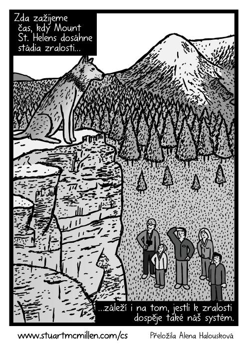 Vlk na útesu komiks. Rodina vzhlížející kvlkovi kresba. Zda zažijeme čas, kdy Mount St. Helens dosáhne stádia zralosti…záleží i na tom, jestli kzralosti dospěje také náš systém.