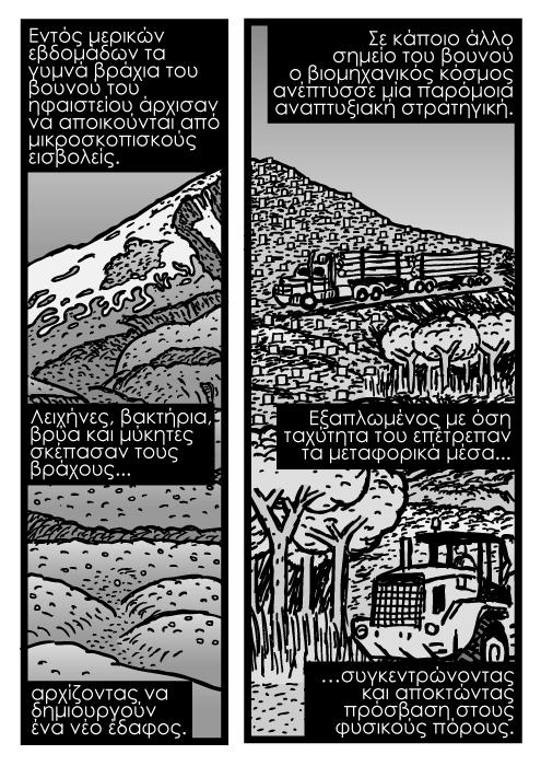 Καρτούν με ηφαίστεια στις ΗΠΑ, καρτούν ηφαίστειο Αγίας Ελένης, ζωγραφιά με φορτηγό υλοτομίας