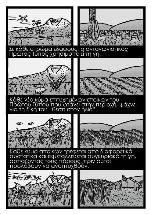 """Ζιζάνια που αναπτύσσονται στα χωράφια καρτούν, σοδειές και αγροτικές καλλιέργειες κόμικ. Σε κάθε στρώμα εδάφους, ο ανταγωνιστικός Πρώτος Τύπος χρησιμοποιεί τη γη. Kάθε νέο κύμα επιτυχημένων εποίκων του Πρώτου Τύπου που φτάνει στην περιοχή, ψάχνει για τη δική του """"θέση στον ήλιο"""". Κάθε κύμα αποίκων τρέφεται από διαφορετικά συστατικά και εκμεταλλεύεται συγκυριακά τη γη, αρπάζοντας τους πόρους, πριν αυτοί προλάβουν να αναπτυχθούν."""