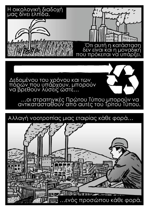 Άντρας κοιτά το εργοστάσιο κόμικς, εργοστάσιο λιθάνθρακα καρτούν ζωγραφισμένο. Η οικολογική διαδοχή μας δίνει ελπίδα. Ότι αυτή η κατάσταση δεν είναι και η μοναδική που πρόκειται να υπάρξει. Δεδομένου του χρόνου και των πόρων που υπάρχουν, μπορούν να βρεθούν λύσεις ώστε οι στρατηγικές Πρώτου Τύπου μπορούν να αντικατασταθούν από αυτές του Τρίτου Τύπου. Αλλαγή νοοτροπίας μιας εταιρίας κάθε φορά ενός προσώπου κάθε φορά.