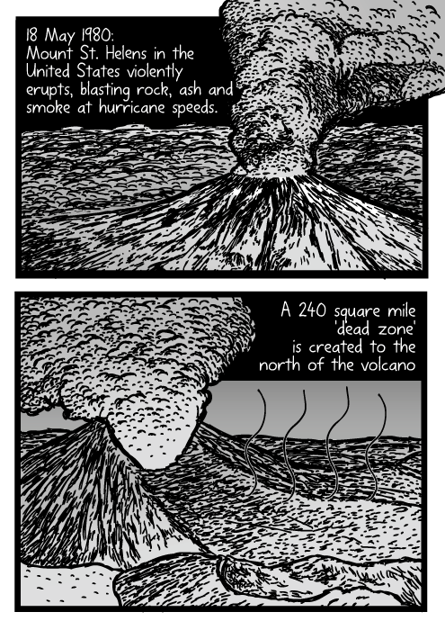 Mount St. Helens erupting drawing. Volcano cartoon. Volcanic eruption comic. 18 May 1980: Mount St. Helens in the United States violently erupts, blasting rock, ash and smoke at hurricane speeds. A 240 square mile 'dead zone' is created to the north of the volcano.