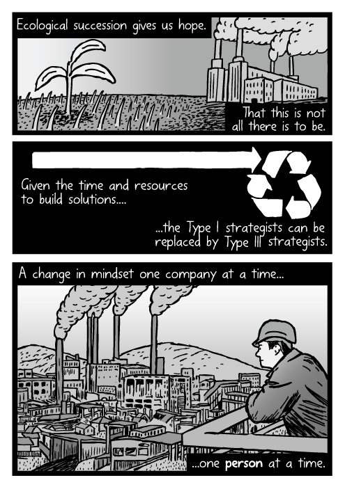 Man looking at factory drawing. Coal power plant cartoon. Ecological succession gives us hope. That this is not all there is to be. Given the time and resources to build solutions....the Type I strategists can be replaced by Type III strategists. A change in mindset one company at a time...one person at a time.