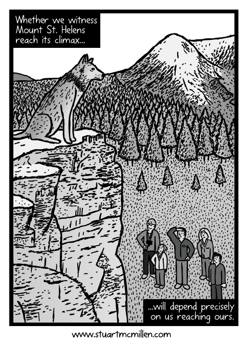 Wolf on cliff top cartoon. Family looking up at wolf drawing. Whether we witness Mount St. Helens reach its climax...will depend precisely on us reaching ours.