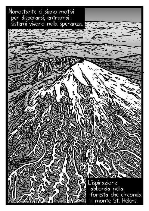 Disegno aereo del monte St. Helens. Fumetto della vista dall'alto del vulcano. Nonostante ci siano motivi per disperarsi, entrambi i sistemi vivono nella speranza. L'ispirazione abbonda nella foresta che circonda il monte St. Helens.