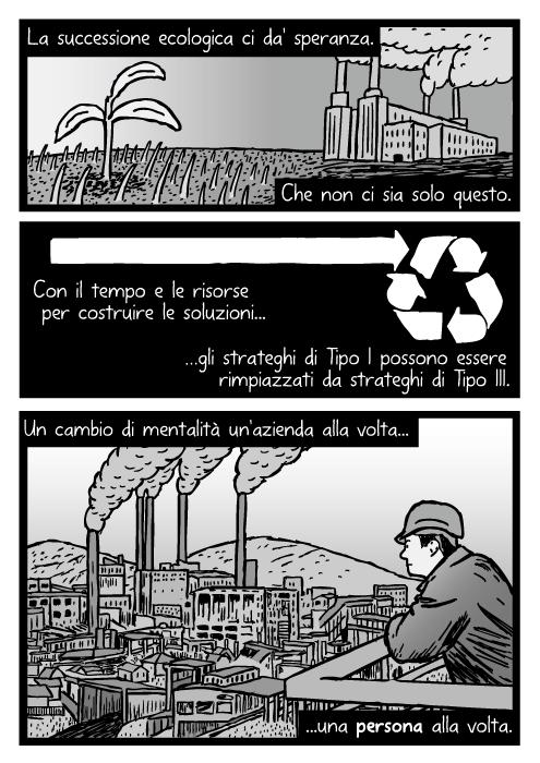 Disegno di uomo che guarda una fabbrica. Vignetta di centrale elettrica a carbone. La successione ecologica ci da speranza. Che non ci sia solo questo. Con il tempo e le risorse per costruire le soluzioni gli strateghi di Tipo I possono essere rimpiazzati da strateghi di Tipo III. Un cambio di mentalità un'azienda alla volta una persona alla volta.