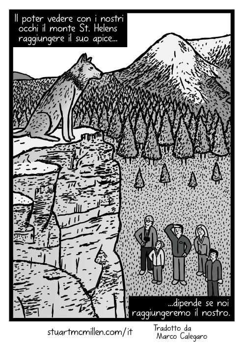 Disegno di lupo sulla cima della montagna. Vignetta di una famiglia che guarda il lupo. Il poter vedere con i nostri occhi il monte St. Helens raggiungere il suo apice dipende se noi raggiungeremo il nostro.