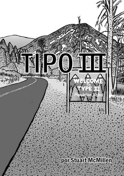 Capa do quadrinho Tipo III. Cartum da abertura de Twin Peaks. Desenho da placa de estrada da montanha.