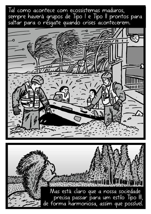 Cartum de barco resgate numa tempestade. Desenho de esquilo em desmatamento na floresta. Tal como acontece com ecossistemas maduros, sempre haverá grupos de Tipo I e Tipo II prontos para saltar para o resgate quando crises acontecerem. Mas está claro que a nossa sociedade precisa passar para um estilo Tipo III, de forma harmoniosa, assim que possível.