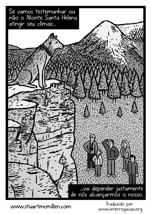 Cartum de lobo no topo de um penhasco. Desenho de família olhando o lobo. Se vamos testemunhar ou não o Monte Santa Helena atingir seu clímax...vai depender justamente de nós alcançarmos o nosso.