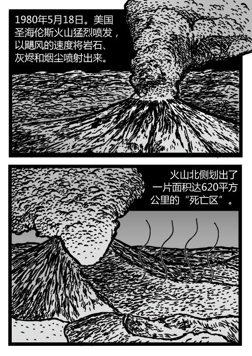 """圣海伦斯火山喷发图。火山卡通。火山喷发漫画。1980年5月18日。美国圣海伦斯火山猛烈喷发,以飓风的速度将岩石、灰烬和烟尘喷射出来。火山北侧划出了一片面积达620平方公里的""""死亡区""""。"""